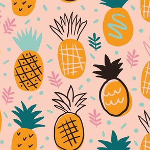 Cute hand drawn pineapples on orange background