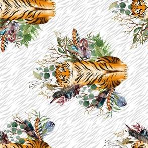 "8"" Boho Tiger Florals - Grey Stripes 90 degrees"