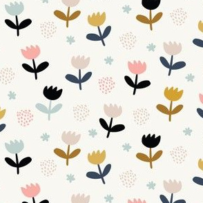 Cute scandinavian pattern with minimalistic flowers