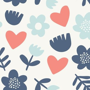 Cute scandinavian pattern with minimalistic flowers and hearts