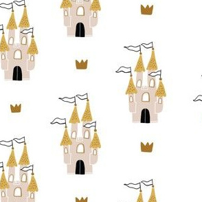 Childish fairy tale design with castles and crowns on white background