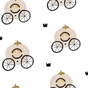Hand drawn princess seamless pattern for textile with chariots and crowns