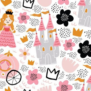 Fairy tale girly pattern with princess, carriage, coach, castle, flowers