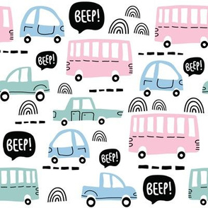 Colorful cute cars boys pattern in pastel colors