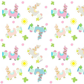 colorful Glammy Llamas - polka on white