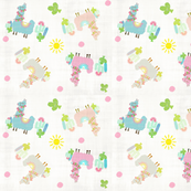 colorful Glammy Llamas - linen wash polka on white-ed-ed