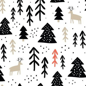 Childish pattern with raindeers, pines. Scandinavian winter forest