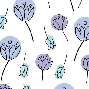 Blue and purple doodle tulips