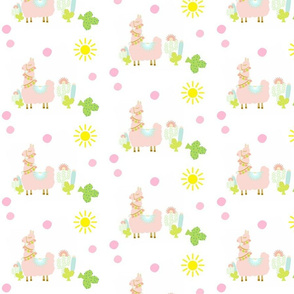 Glammy Llama PEACH MED 7 - polka on white