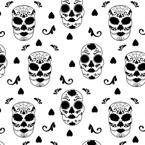 Glamourous Halloween rococo black and white skull