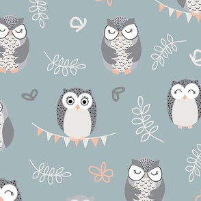 The Owls - green nursery pattern