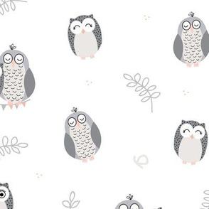 The Owls - white nursery pattern