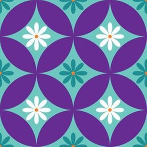Mid Century Flower Circle Lock Print - Purple, Turquoise, Teal, White