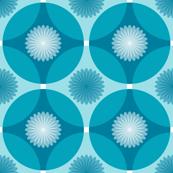 Caribbean Blue Floral Circle Lock Print