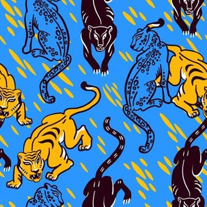 Tiger, cheetah, leopard and cougar. Wild cats