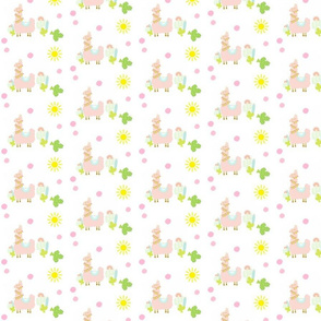 Glammy Llama PEACH SMALL 4 - polka on white