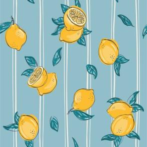 Lemon on blue