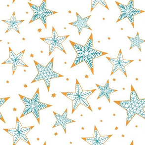 Bohemian christmas golden and turquoise stars