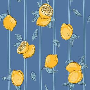 Lemon on dark blue