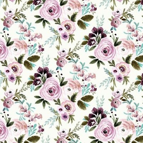 Victoria Floral - plum + olive S