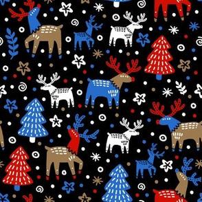 Reindeers and Christmas trees