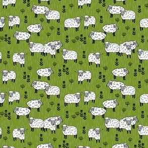 SMALL - sheep fabric // field of sheep wool animals farms animals - moss green