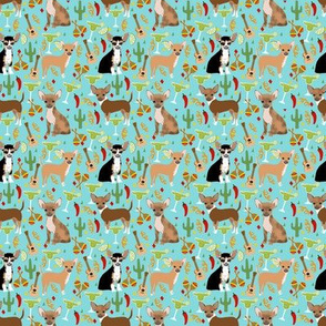 TINY - chihuahua fiesta fabric cute dogs and margaritas celebration fabric - blue