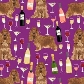 cocker spaniel dog fabric - wine dogs fabric, dog fabric, cocker spaniel fabric, dogs design - purple