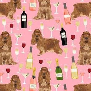 cocker spaniel dog fabric - wine dogs fabric, dog fabric, cocker spaniel fabric, dogs design -pink