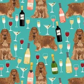 cocker spaniel dog fabric - wine dogs fabric, dog fabric, cocker spaniel fabric, dogs design - teal