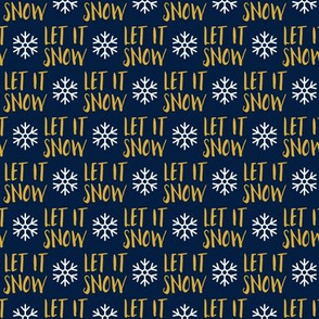 "(1"" scale) Let it Snow - gold on blue - Christmas Winter Holiday - LAD19BS"