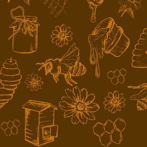 Bees and Honey Nature mustard and gold
