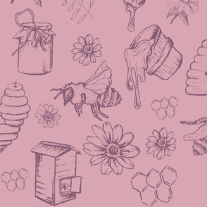 Bees and Honey Nature Pink and muted purple