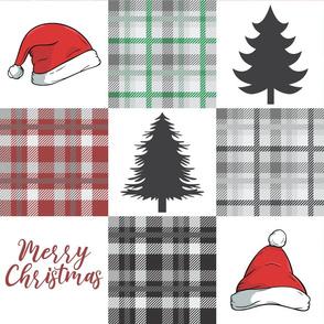 Merry Christmas Plaid Quilt Santa hats