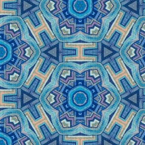 Aztec flower in vintage turquoise