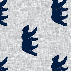 navy bear on light grey linen (large scale) (90) - C19BS