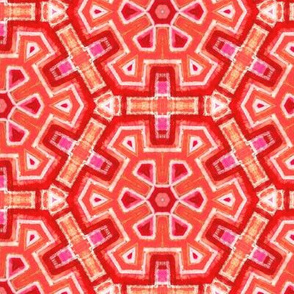 aztec snowflakes in hot pink and scarlett