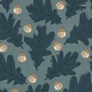 Forest - Leaves _ Acorns Teal