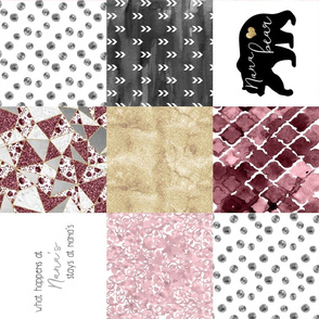 Nana//Burgandy&Gold - Wholecloth Cheater Quilt - Rotated