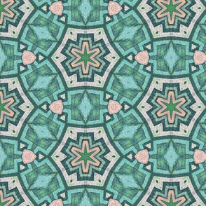aztec snowflake green n salmon small version