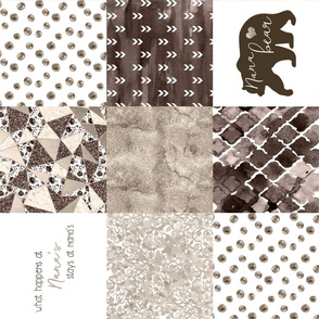 Nana//Brown&Beige - Wholecloth Cheater Quilt - Rotated