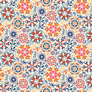 Watercolor Kaleidoscope Floral - desaturated, small print