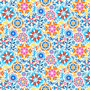 Watercolor Kaleidoscope Floral - brights, small print