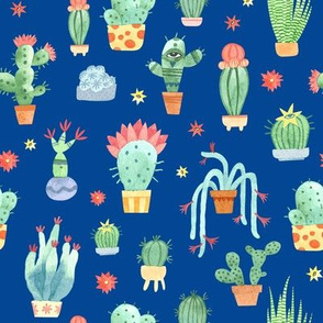 Watercolor cacti on blue