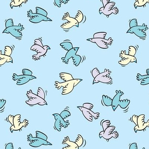 Flying birds / blue
