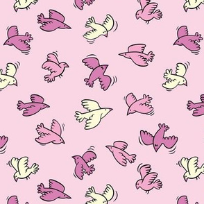 Flying birds / pink
