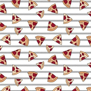 Pizza lovers slice fast food pop art drawing and stripes design white