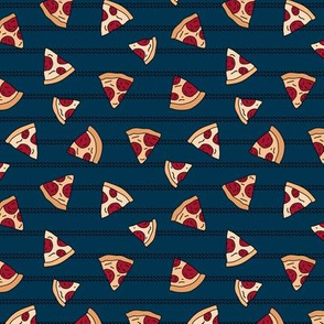Pizza lovers slice fast food pop art drawing and stripes design navy blue
