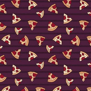 Pizza lovers slice fast food pop art drawing and stripes design deep maroon