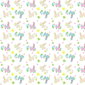 colorful Glammy Llamas SMALL 54 - polka on white